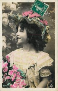 Girl With Flower Hat~Dark Ringlett Curls~Colorized Real Photo~France~1905