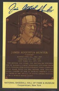 Jim Catfish Hunter Autograph on HOF Plaque