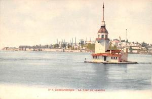 Turkey Old Vintage Antique Post Card La Tour de Leandre Constantinople Unused