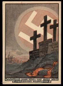 3rd Reich 1932 Duesseldorf SS Graves Werbekarte 4 Advertising Card UNUSED 90995