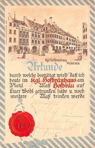 Kgl Hofbrauhaus Munchen Germany Postal Used Unknown