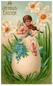 Easter,  Cherub playing Violin sitting on large Egg