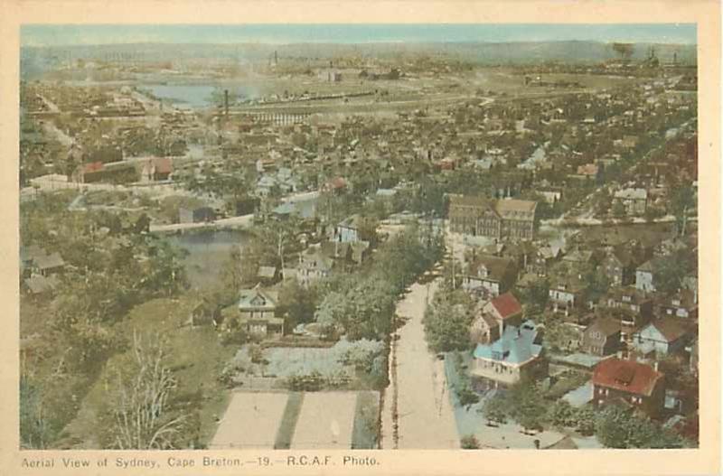 Air View of Sydney Cape Breton Nova Scotia Canada W/B