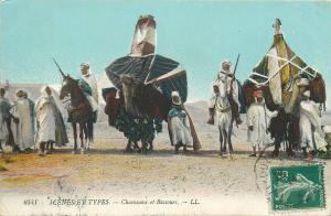 North Africa scenes & types ethnics camels caravan horseman postcard