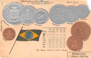Coin Postcard, Old Vintage Antique Brasilien