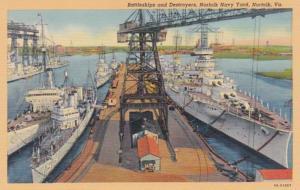 Virginia Norfolk Battleships & Destroyers Norfolk Navy Yard Curteich