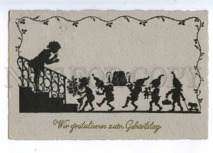190181 BIRTHDAY Girl & GNOME Dwarf Vintage SILHOUETTE PC