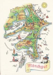 Monchgut Mecklenburg Pomerania German Germany Karte Boat Ship Map Postcard