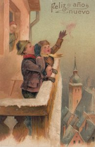 NEW YEAR, 1900-10s; Children singing from balcony,  PFB 9623