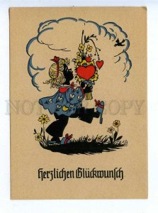 195849 GERMAN Elf hurt flowers silhouette EB Vintage postcard