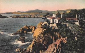 A Stone Cottage at Carmel Highlands, California, Hand Colored  Postcard, Unused