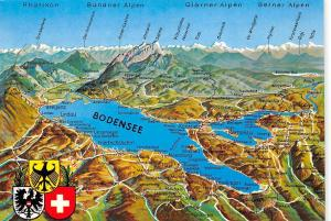 Bodensee Stadtplan Map Meersburg Insel Mainau Konstanz Berner Alpen
