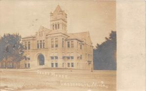 D40/ Cassopolis Michigan Mi Real Photo RPPC Postcard 1908 Court House Building