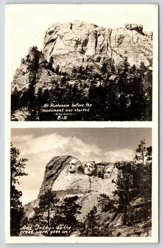 Bad Lands South Dakota~Mount Rushmore Before After~Roosevelt Not Done~1939 RPPC