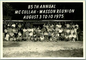 Vintage 1975 RPPC Real Photo Postcard 85th ANNUAL McCULLAH-WASSON FAMILY REUNION