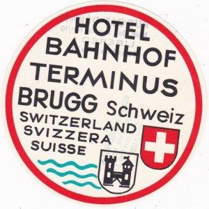 Switzerland Brugg Hotel Bahnhof Terminus Vintage Luggage Label sk1122