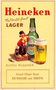 Heineken Beer Dutch Pilsener Beer Advertising Vintage Postcard JJ658735