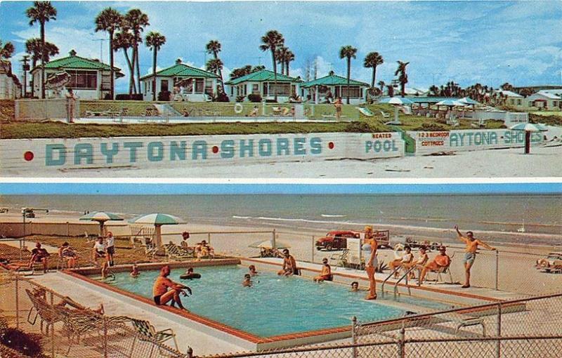 Daytona Beach FL Daytona Shores Oceanfront Cottages Pool Split View Postcard