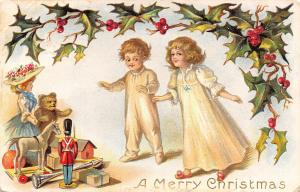 Victorian Christmas~Children in PJ's Find Gifts~Tin Soldier~Teddy Bear~Lady Doll