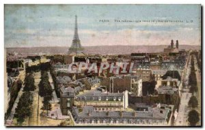 Old Postcard Paris Panoramic Taken From & # 39Arc de Triomphe Eiffel Tower