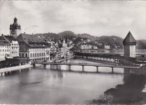 Switzerland Luzern Kapellbruecke und Wasserturm 1960 Photo
