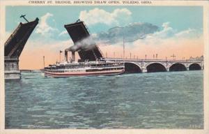 Ohio Toledo Cherry Street Bridge Showing Draw Open