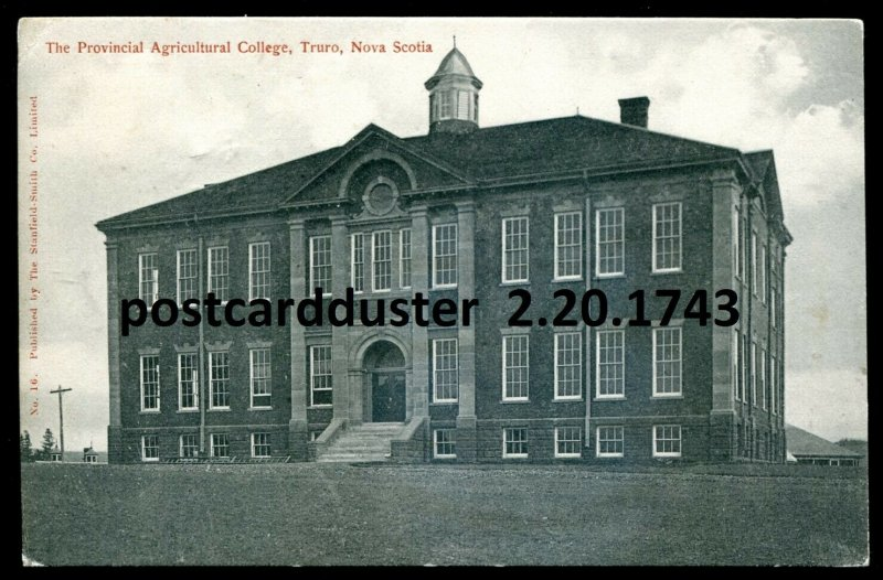 dc3059 - TRURO Nova Scotia Postcard 1906 Agricultural College by Stanfield-Smith