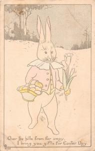 Easter Greetings Dressed Bunny Rabbit with Flowers Antique Postcard (J24752)
