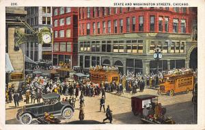 State and Washington Streets, Chicago, Illinois, Early Postcard, Unused