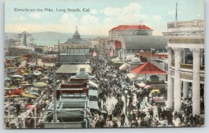 Long Beach California~Crowds on Pike~Lots of Sun Umbrellas~c1910