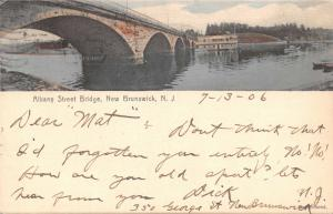 NEW BRUNSWICK NEW JERSEY~ALBANY STREET BRIDGE-Wm REED PHOTO H/C POSTCARD 1906