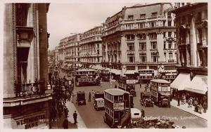 Oxford Circus, London, England, early real-photo postcard unused