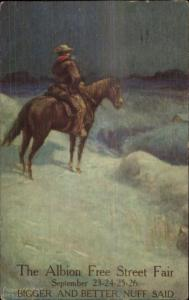 Albion ND Free State Fair Promo Adv - Cowboy on Horse in Winter Postcard LS19