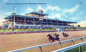 Delaware Park Race Track Willington Delaware Posted Vintage Linen Post Card
