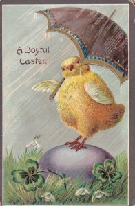 EASTER, 00-10s; A Joyful Easter, Chick Standing On A Giant Egg With An Umbrella