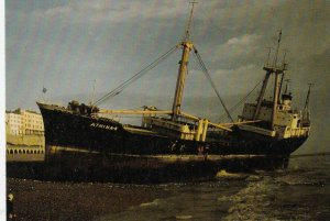 BRIGHTON BEACH , England , 1980 ; Shipwreck Athina B.