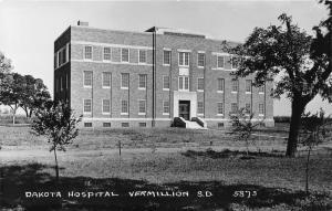 Vermillion South Dakota Hospital Building~Trees along Unpaved Sidewalk~'30s RPPC