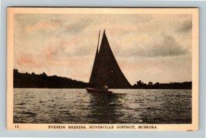 Muskoka Ont. Canada - Scenic Sailing Huntsville Breezes, Vintage Postcard