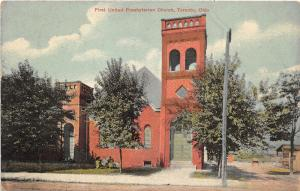 E87/ Toronto Ohio Postcard Jefferson c1914 First United Presbyterian Church 23