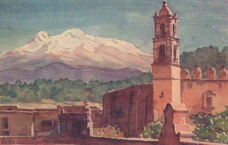 El Ixtaccihuatl Mexican Old Mexico Painting Postcard