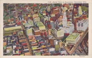 Ohio Cleveland Aerial View Of Downtown 1946