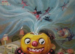 Vintage Halloween Postcard Tucks Original #150 Embossed Devils Pitchfork Witches