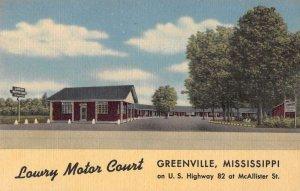 Greenville Mississippi Lawry Motor Court Vintage Postcard AA16694