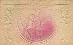 Naked Cupid Talking On Telephone To My Valentine 1908 Embossed
