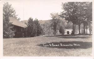 Ellsworth Michigan~Lazy S Camp~Restful~Lawn Chairs Face Lake~Romans 8~1956 RPPC