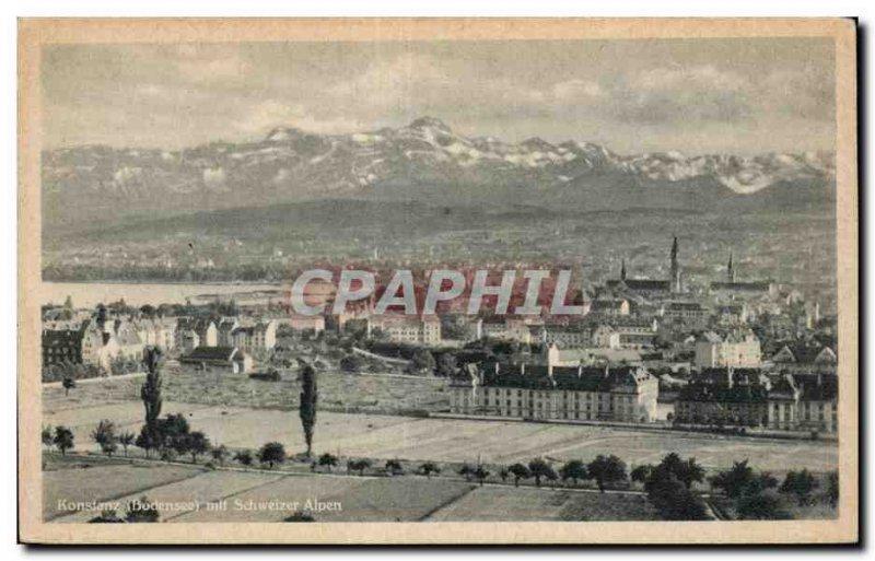 Old Postcard Konstanz Bodensee mit Schweizer Alpen