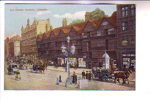 Horse Carriages, Old Houses Holburn, London England, Printed in Germany
