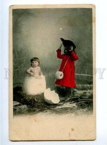 156303 Baby in EGG as Chicken & Girl in Red Vintage PHOTO