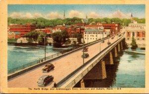 Maine Lewiston and Auburn The North Bridge Over Androscoggin River Dexter Press