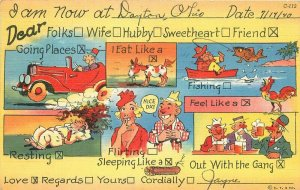 Busy Woman Checklist Teich linen Comic Humor 1940s Postcard 8616
